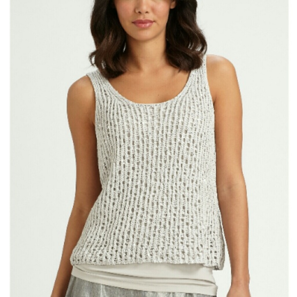 8faa0bf4f98 Eileen Fisher Tops - Eileen Fisher Sequin Chainmail Mesh Tank Top